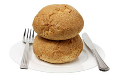 Bread Roll on Plate Royalty Free Stock Image