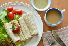 Bread roll and salad dipping sauce with coffee breakfast food set Stock Image