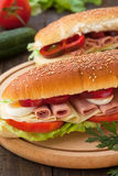 Bread roll sandwiches Royalty Free Stock Photos