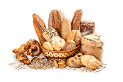 Bread and rolls. Composition with bread and rolls in wicker basket royalty free stock photo