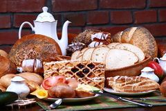 Bread and rolls. The traditional Polish breakfast on the table Stock Photo