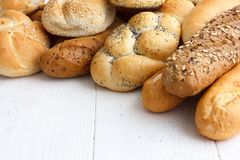 Bread rolls and baguettes. Royalty Free Stock Image