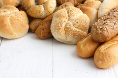 Bread rolls and baguettes Royalty Free Stock Photos