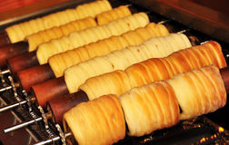 Bread rolls baking in Prague Royalty Free Stock Images