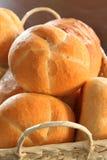 Bread rolls in basket. Crispy bread rolls, in a basket royalty free stock images