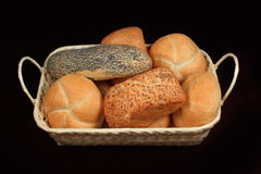 Bread rolls in a basket Royalty Free Stock Images