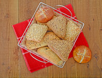 Bread rolls in basket on the table Stock Photography