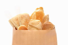 Bread and rolls in beautiful show. Bread and rolls in an paper bag Royalty Free Stock Photo