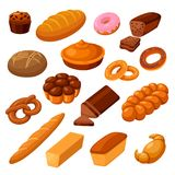 Bread and rolls. Fresh food prepared from a dough by baking, homemade warm pastry set. Vector flat style cartoon illustration isolated on white background vector illustration