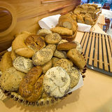 Bread and rolls buffet. Bread and rolls on display, hotel buffet. Fresh and crunchy Royalty Free Stock Photography