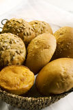 Bread rolls close up. Variety of bread rolls in a basket close up Stock Photography