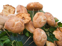 Bread rolls and leaves. Stock Image