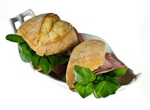 Bread rolls with mortadella Stock Photo