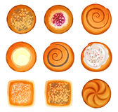 Bread rolls round loaves set with sesame, sugar with caramel, Stock Images