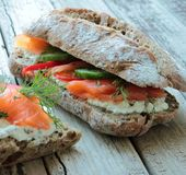 Bread rolls with salmon Royalty Free Stock Image