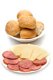 Bread Rolls Sausage And Cheese Stock Photography