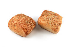 Bread rolls with sunflower seeds isolated Royalty Free Stock Photo