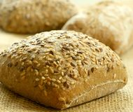 Bread rolls with sunflower seeds on a sacking Royalty Free Stock Images