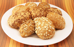 Bread rolls with sunflower and sesame seeds Royalty Free Stock Photography
