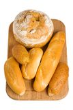 Bread and rolls on white Royalty Free Stock Photos