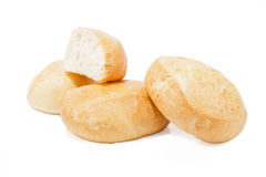Bread rolls on white background Stock Images