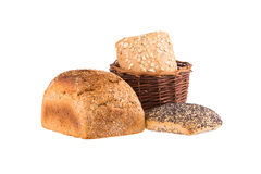 Bread and rolls in wicker basket isolated on white. Food. Stock Photography