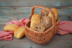 Bread and rolls in wicker basket Royalty Free Stock Photography