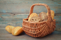 Bread and rolls in wicker basket Stock Photography