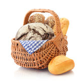 Bread and rolls in wicker basket Stock Photos