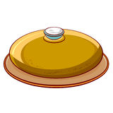 Bread round loaf with salt on a platter Royalty Free Stock Photos