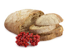 Bread and rowan. Slices of bread and red berries of mountain ash Stock Images