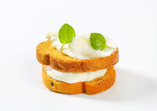 Bread rusks with cream cheese Royalty Free Stock Photography