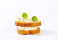 Bread rusks with cream cheese Royalty Free Stock Photo