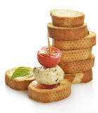 Bread Rusks With Mozzarella Cheese And Tomatoes Royalty Free Stock Photo
