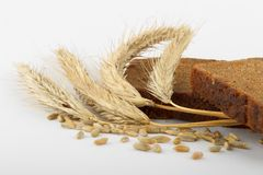 Bread and rye ears. Rye bread slices and  wheat ears on white Stock Image