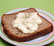 Bread with a salad of eggs Royalty Free Stock Image