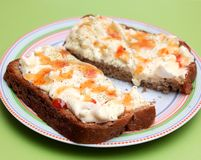 Bread with a salad of eggs Royalty Free Stock Photography