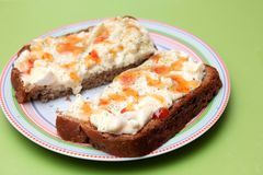 Bread with a salad of eggs Royalty Free Stock Images