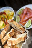 Bread and salad stock photography