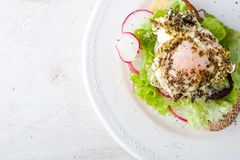 Bread with salad , vegetables and egg top view Royalty Free Stock Images