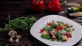 Bread salad. stock video footage
