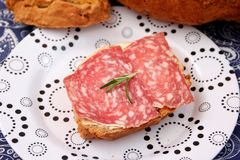 Bread with salami Royalty Free Stock Image