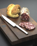 Bread and salami Royalty Free Stock Image