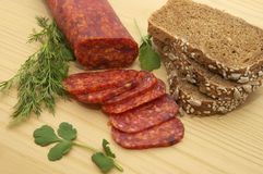 Bread and salami Stock Photo
