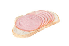 Bread with salami Stock Photo