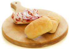 Bread and Salami Royalty Free Stock Photography