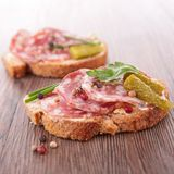 Bread with salami Stock Image
