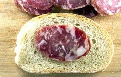 Bread with salami. Bio food snack stock photo