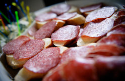 Bread with salami and cheese Stock Photography