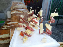Bread Salami Cheese Skewers Stock Images